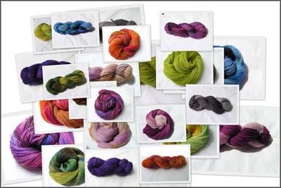 Collage aus verschiedenen Sockenwollsträngen