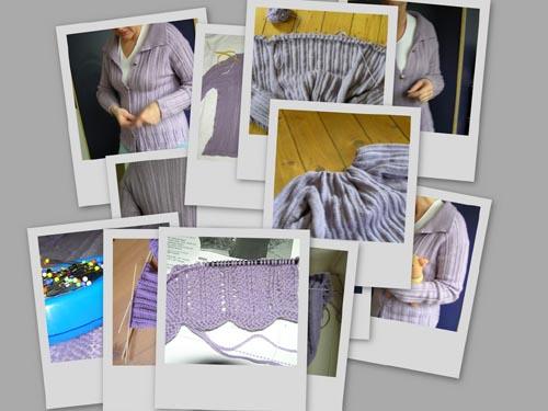 verschiedene Bilder einer lavendelfarbenen Strickjacke