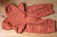 braunorangemelierte Socken