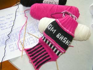 Socke in Pink, weiߟ, anthrazit