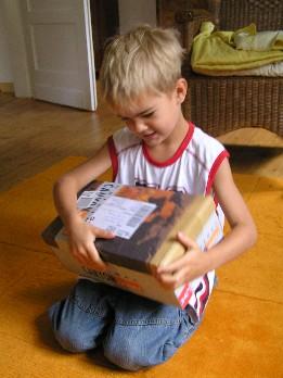 Kind mit Karton