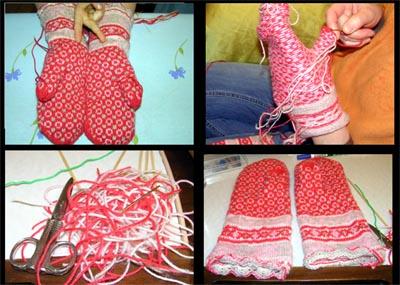 Handschuhe mit Fäden, vernähen, Fäden und fertige Handschuhe