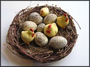 Nest mit Eieren und kleinen Hühnern