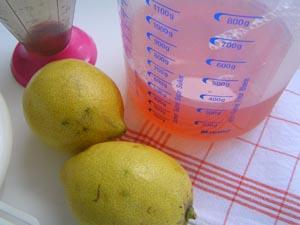 Messbecher mit Quittensaft, Zitronen