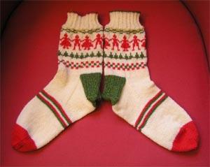 grün rot weiss gemusterte Socken