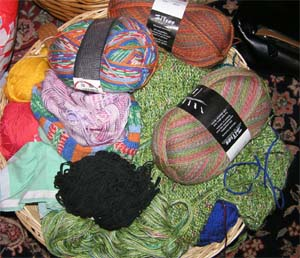 Korb mit Sockenwolle