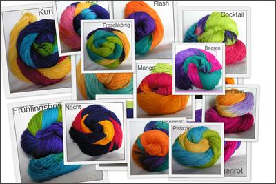 Wolle in bunten Farben